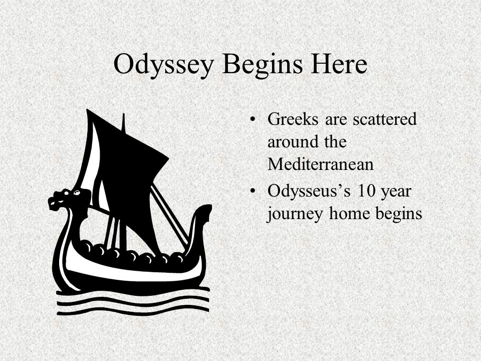 Odyssey Begins Here Greeks are scattered around the Mediterranean