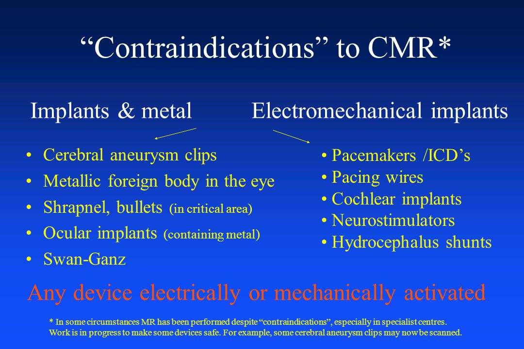 Contraindications to CMR*