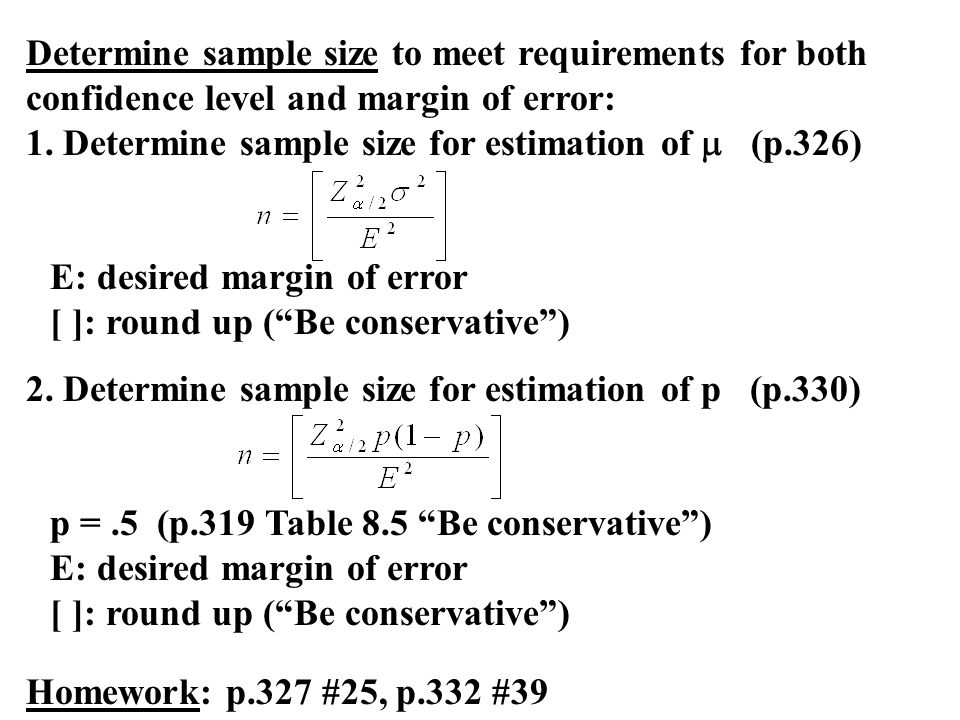 Determine sample size to meet requirements for both confidence level and margin of error:
