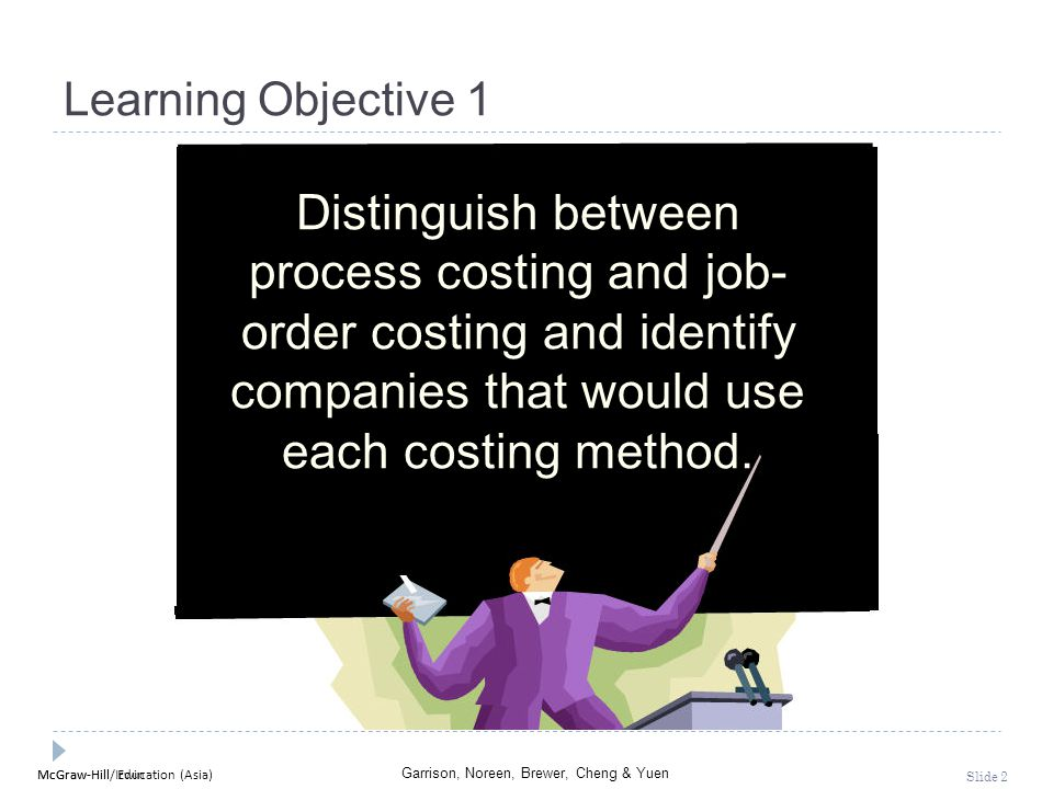 Learning Objective 1 Distinguish between process costing and job-order costing and identify companies that would use each costing method.
