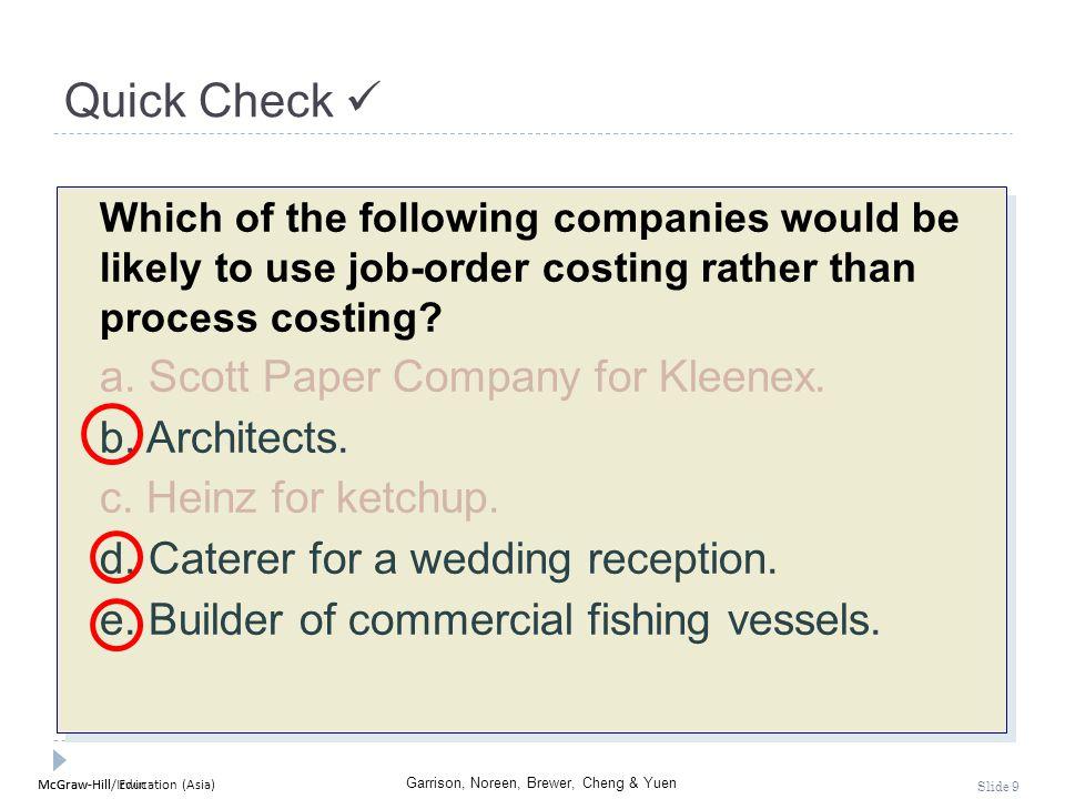 Quick Check  a. Scott Paper Company for Kleenex. b. Architects.