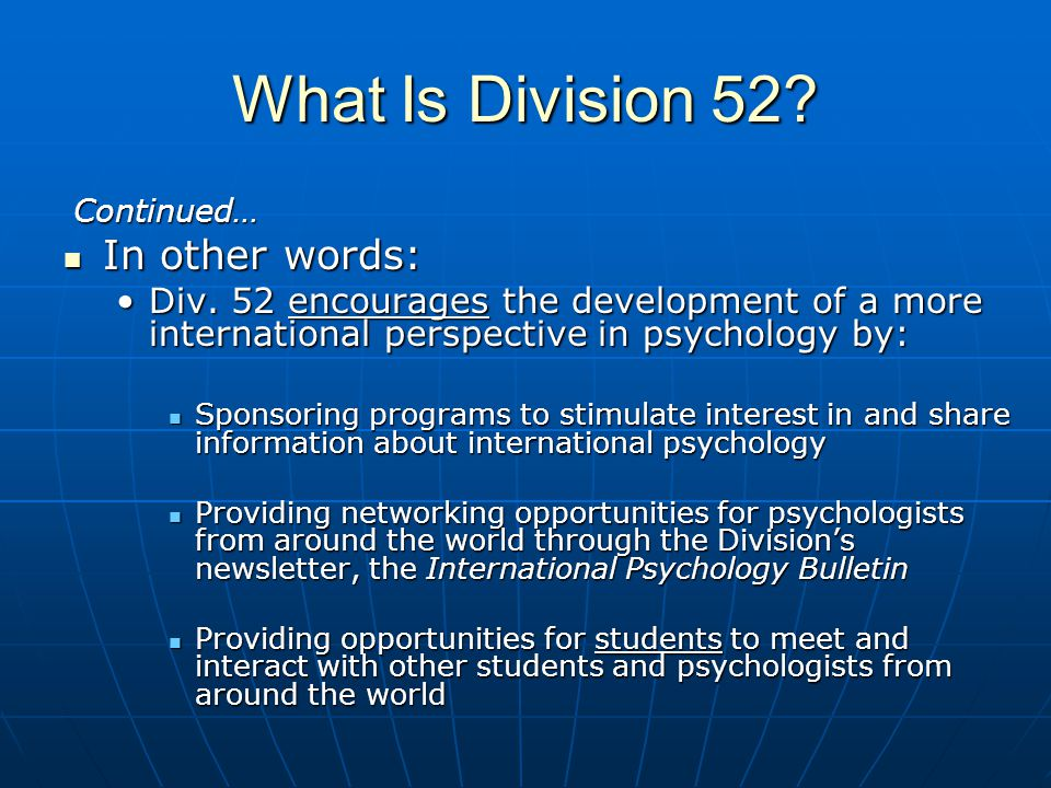 What Is Division 52 In other words: