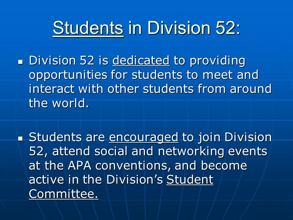 Students in Division 52: