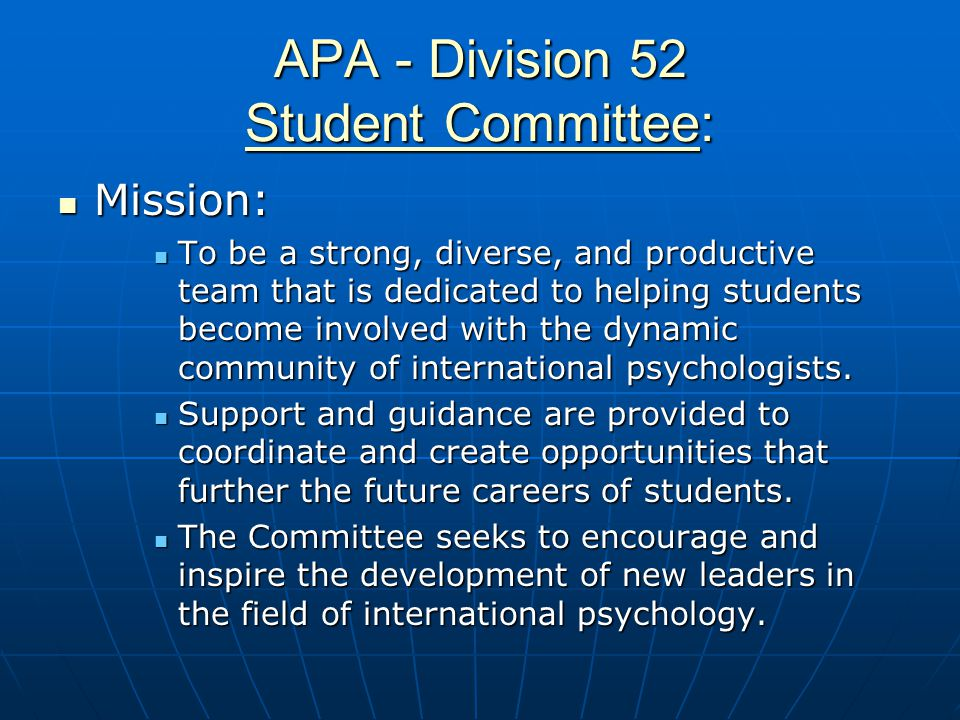 APA - Division 52 Student Committee: