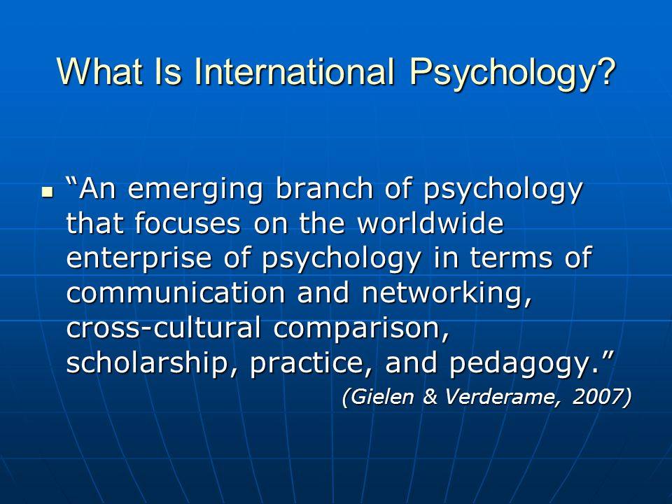 What Is International Psychology