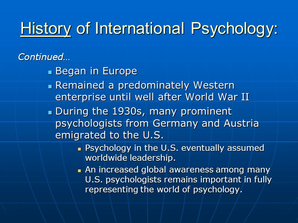 History of International Psychology: