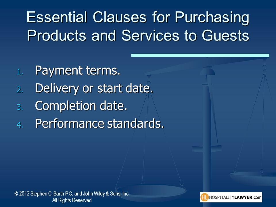 Essential Clauses for Purchasing Products and Services to Guests