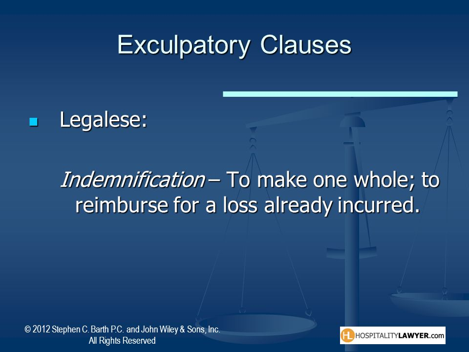 Exculpatory Clauses Legalese: