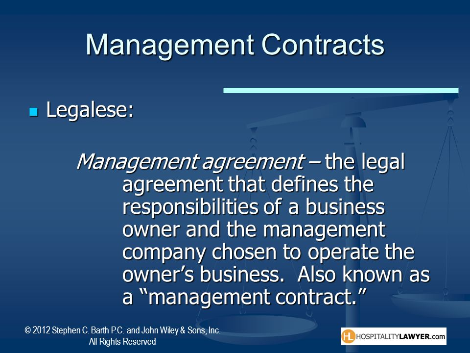 Management Contracts Legalese: