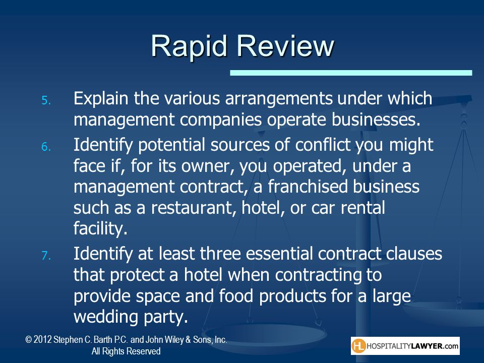 Rapid Review Explain the various arrangements under which management companies operate businesses.
