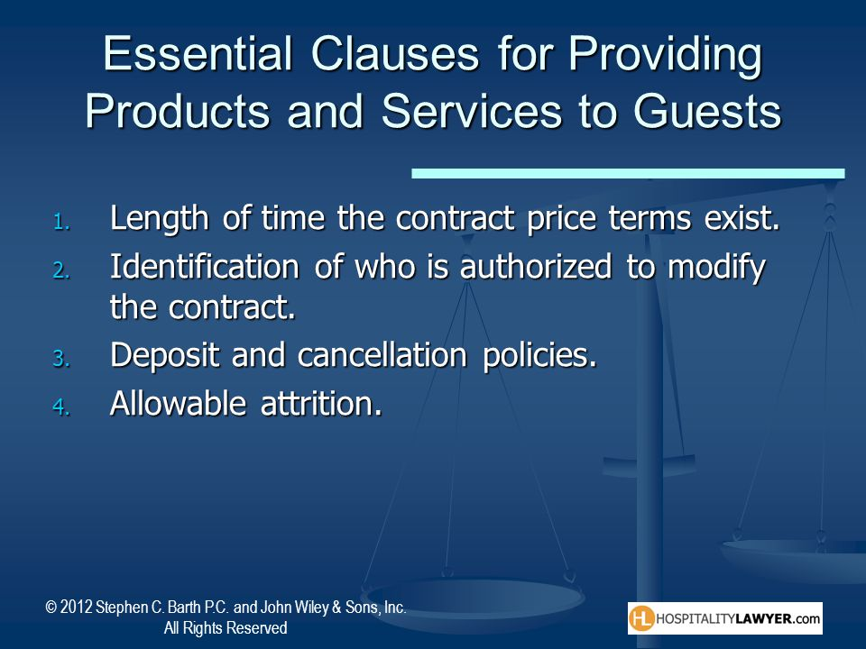 Essential Clauses for Providing Products and Services to Guests