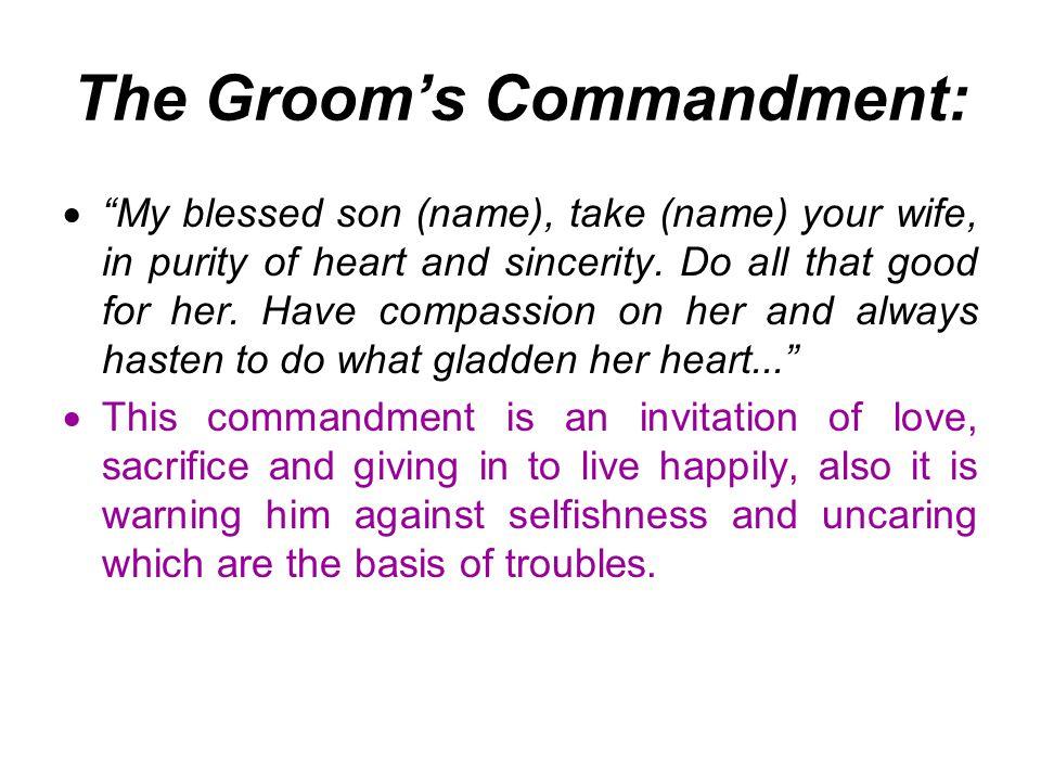 The Groom's Commandment: