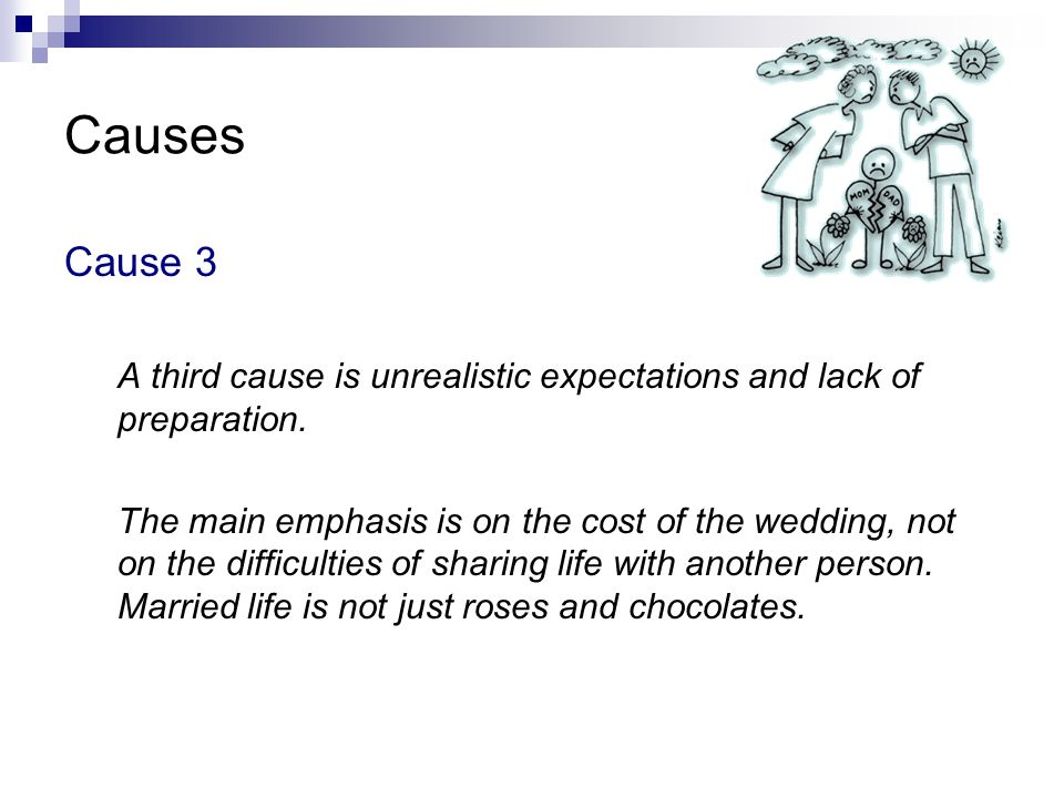 Causes Cause 3. A third cause is unrealistic expectations and lack of preparation.