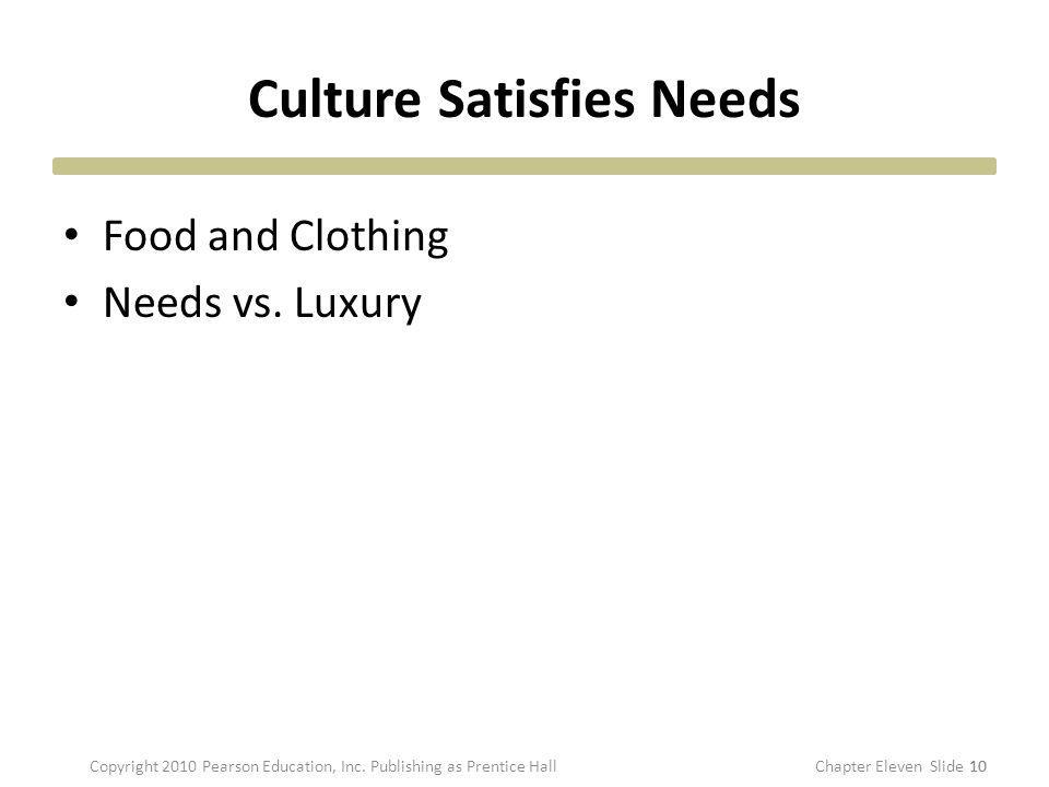 Culture Satisfies Needs