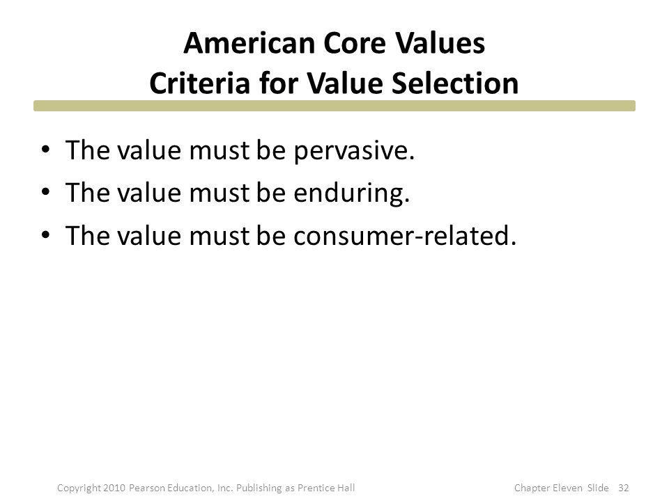 American Core Values Criteria for Value Selection