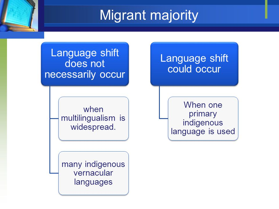 Migrant majority Language shift does not necessarily occur