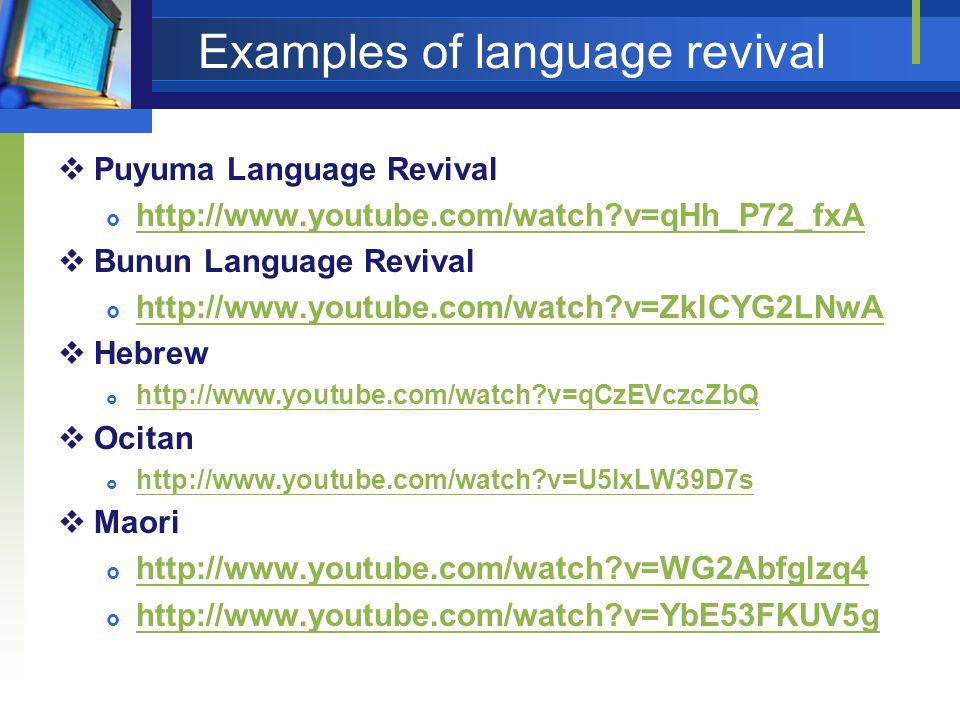 Examples of language revival