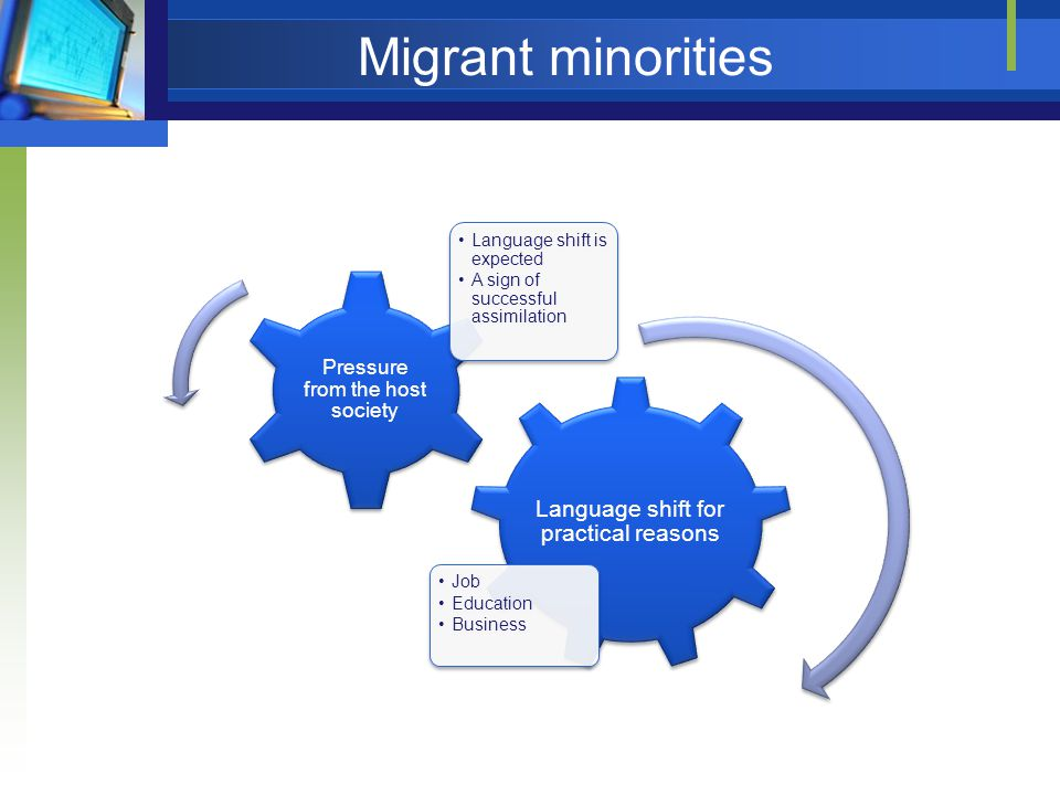 Migrant minorities Language shift for practical reasons