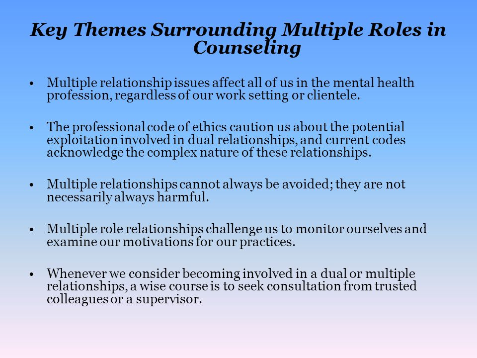 Key Themes Surrounding Multiple Roles in Counseling