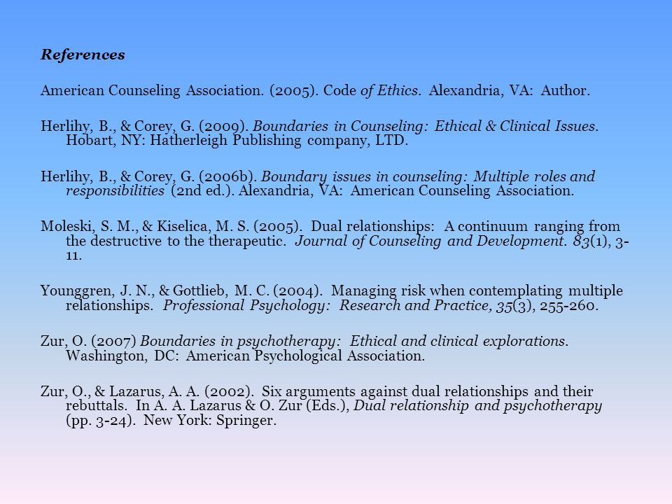 References American Counseling Association. (2005). Code of Ethics. Alexandria, VA: Author.