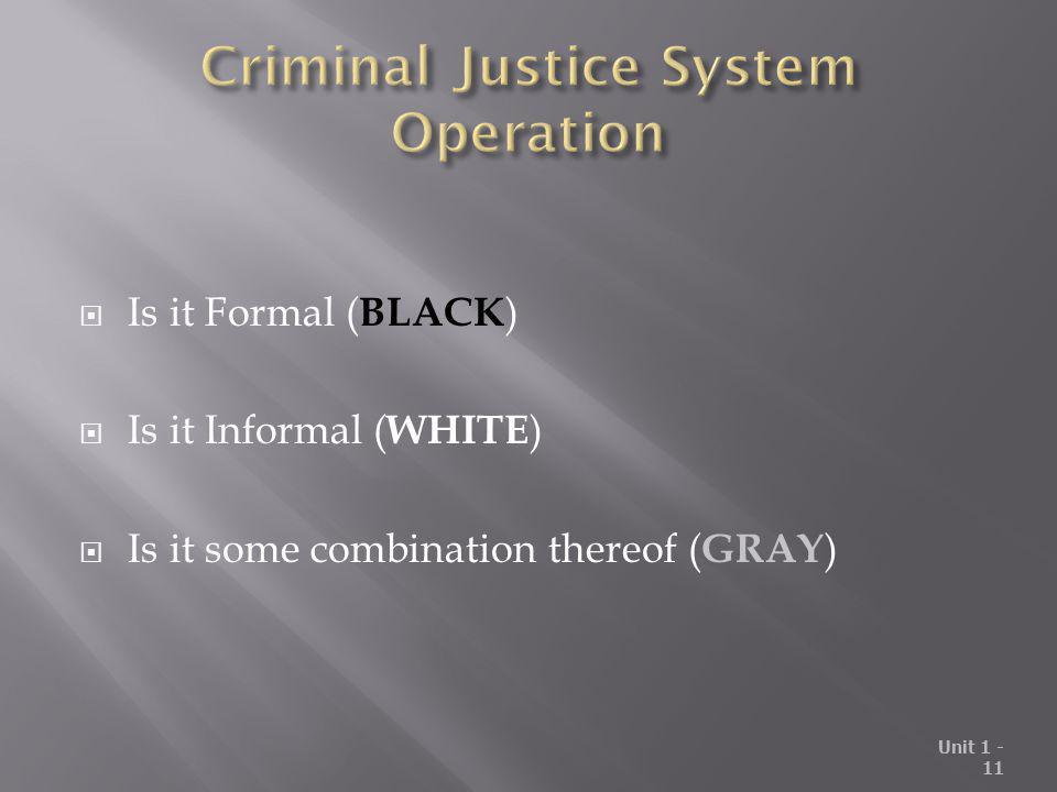 Criminal Justice System Operation