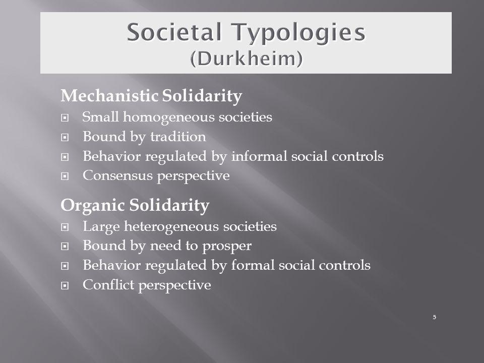 Societal Typologies (Durkheim)