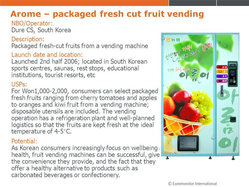 Arome – packaged fresh cut fruit vending