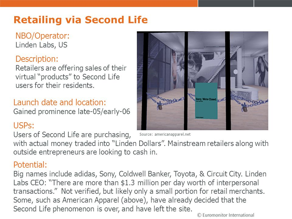 Retailing via Second Life