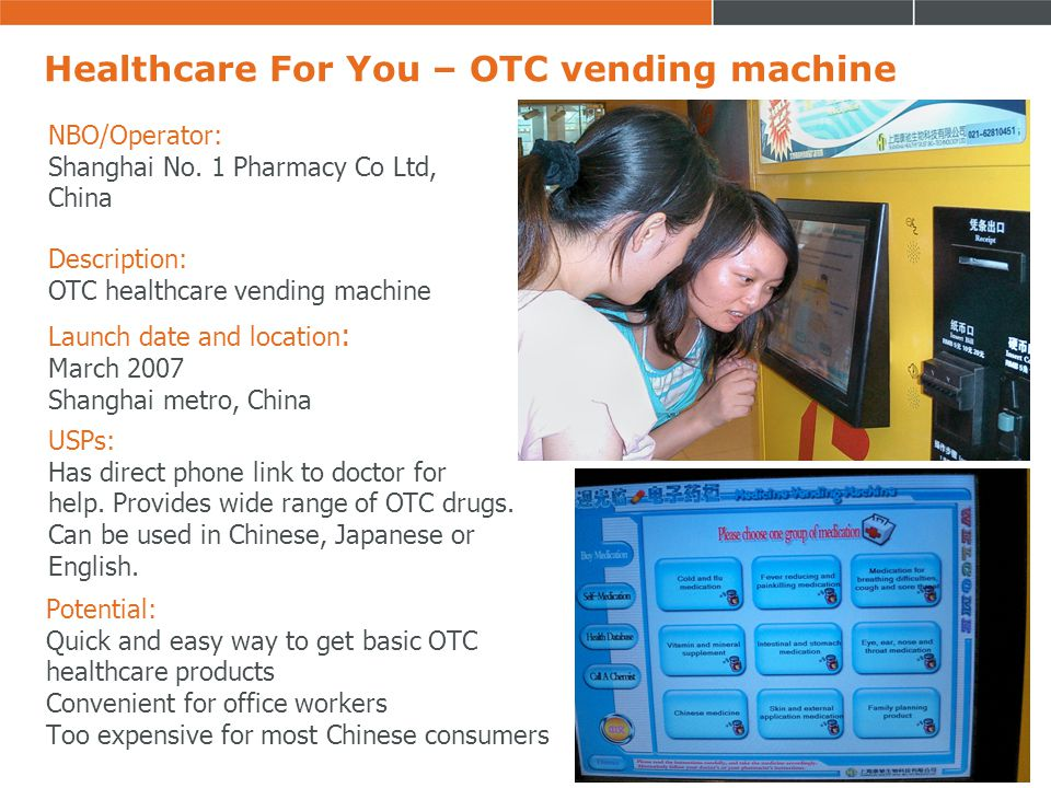 Healthcare For You – OTC vending machine