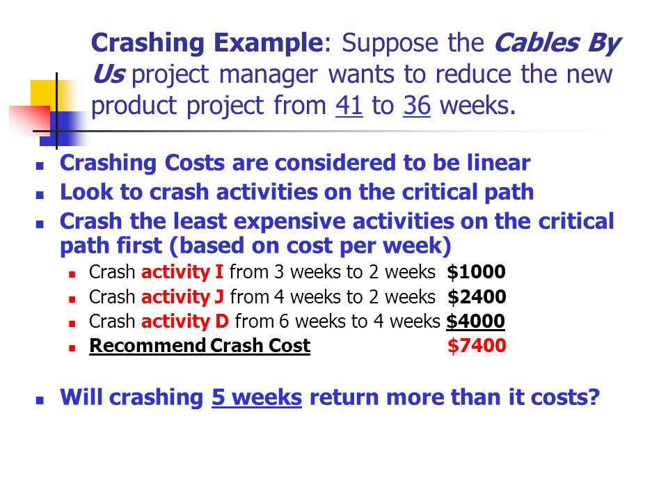 Crashing Example: Suppose the Cables By Us project manager wants to reduce the new product project from 41 to 36 weeks.