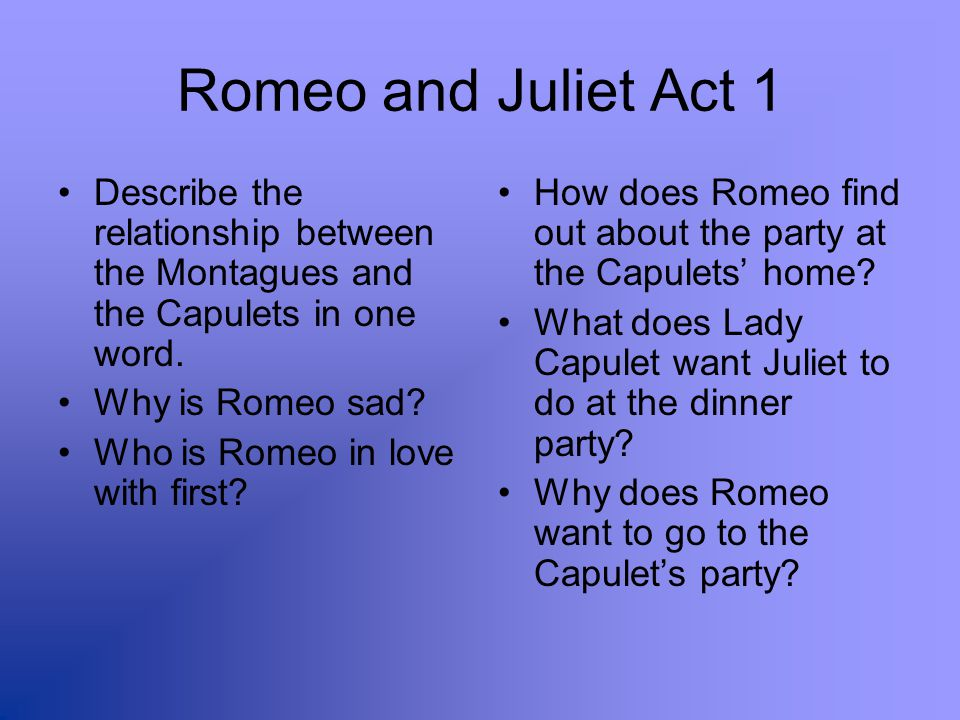 Romeo and Juliet Act 1 Describe the relationship between the Montagues and the Capulets in one word.