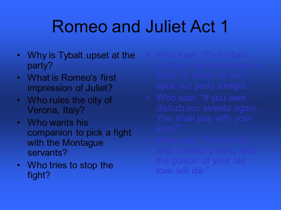 Romeo and Juliet Act 1 Why is Tybalt upset at the party