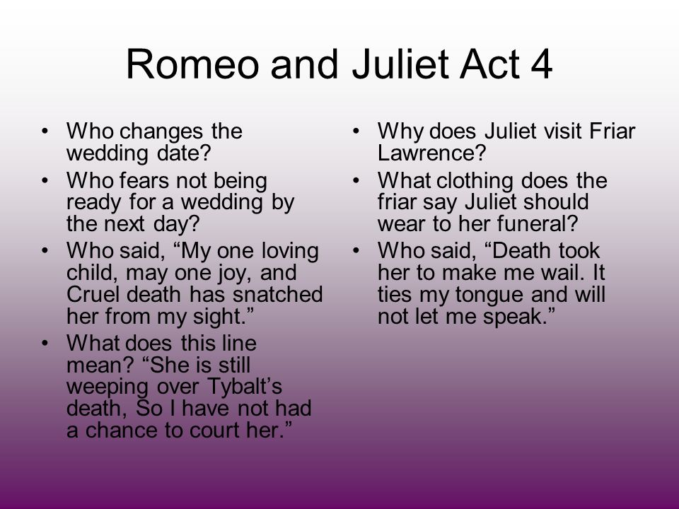 Romeo and Juliet Act 4 Who changes the wedding date