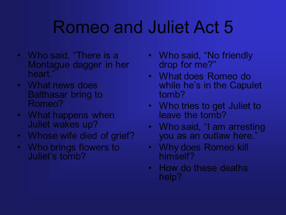 Romeo and Juliet Act 5 Who said, There is a Montague dagger in her heart. What news does Balthasar bring to Romeo