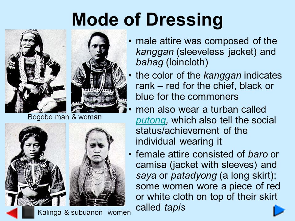 Mode of Dressing male attire was composed of the kanggan (sleeveless jacket) and bahag (loincloth)