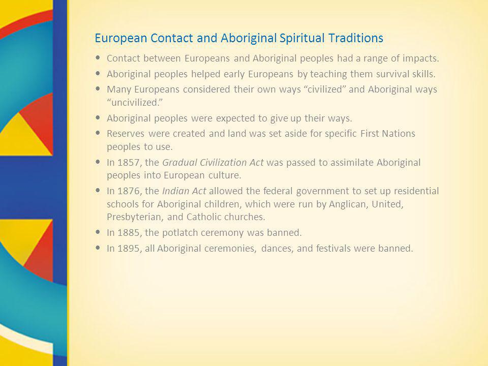 European Contact and Aboriginal Spiritual Traditions