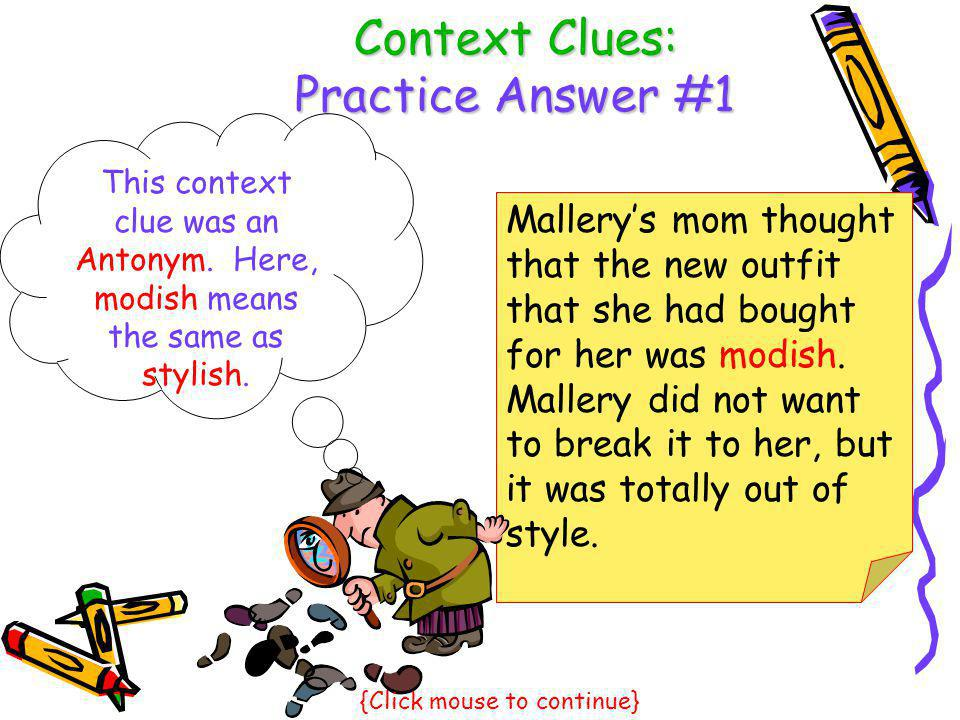 Context Clues: Practice Answer #1