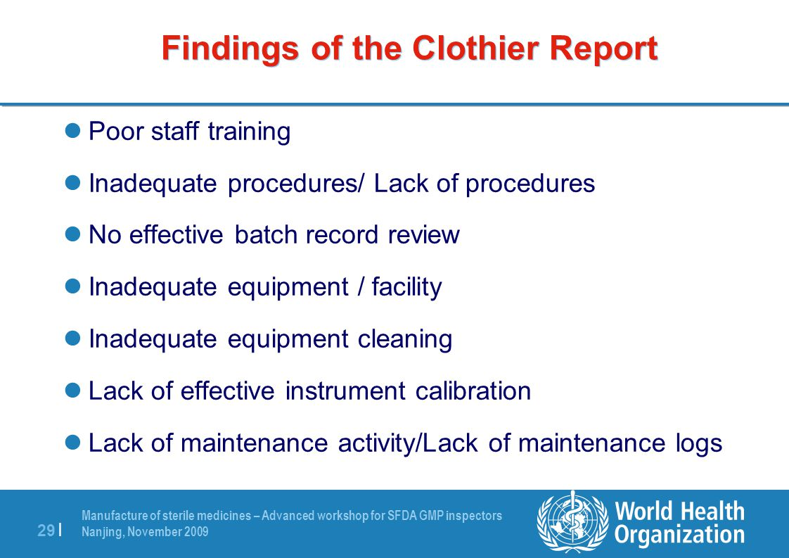Findings of the Clothier Report