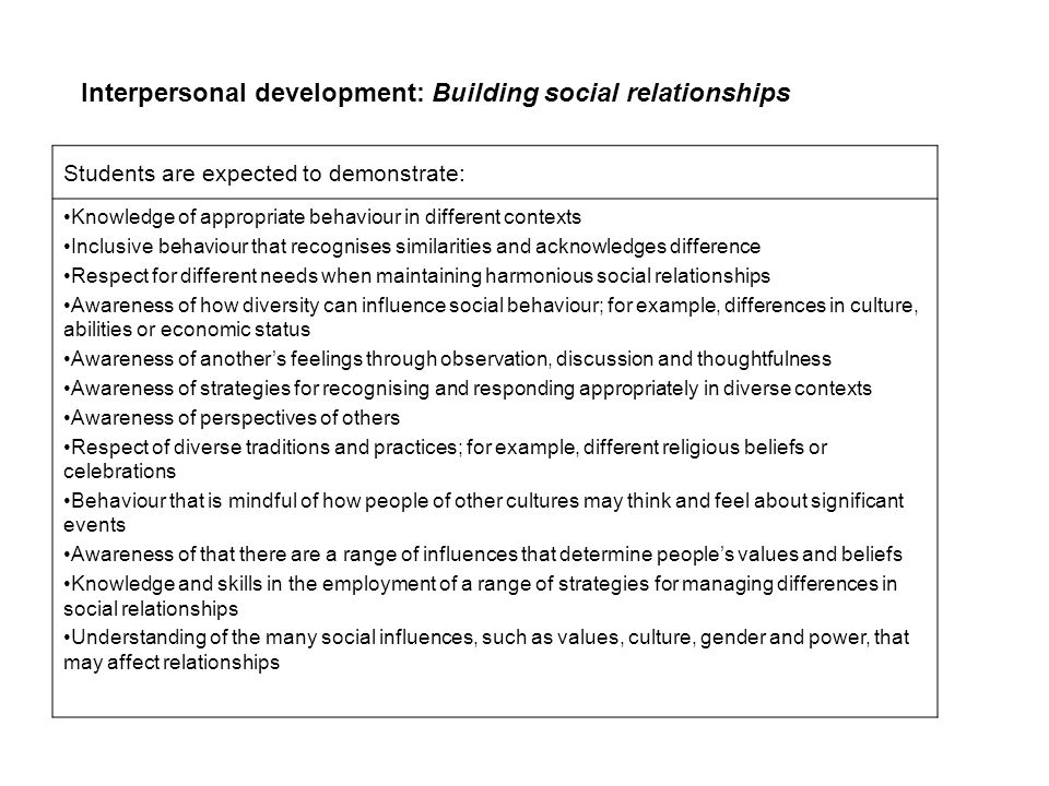 Interpersonal development: Building social relationships