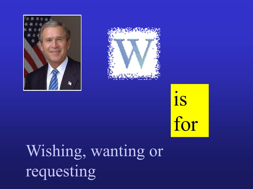 is for Wishing, wanting or requesting