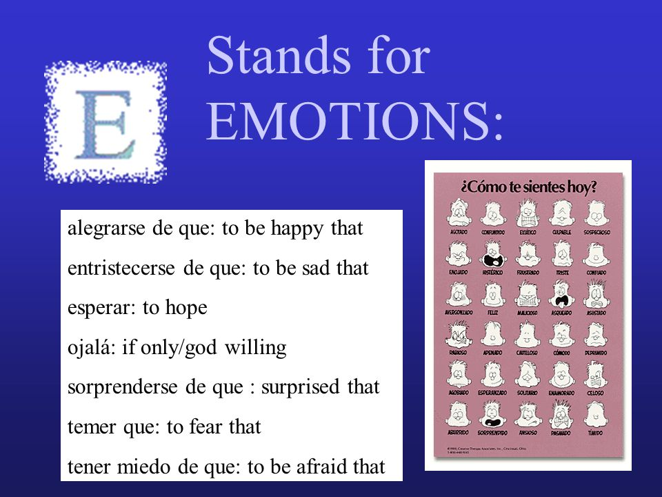 Stands for EMOTIONS: alegrarse de que: to be happy that