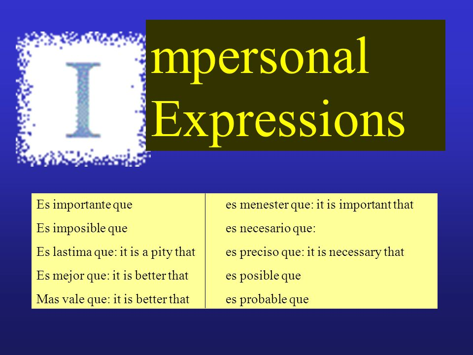 mpersonal Expressions