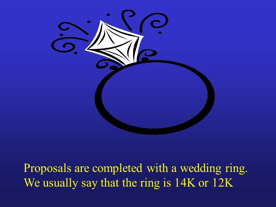 Proposals are completed with a wedding ring.