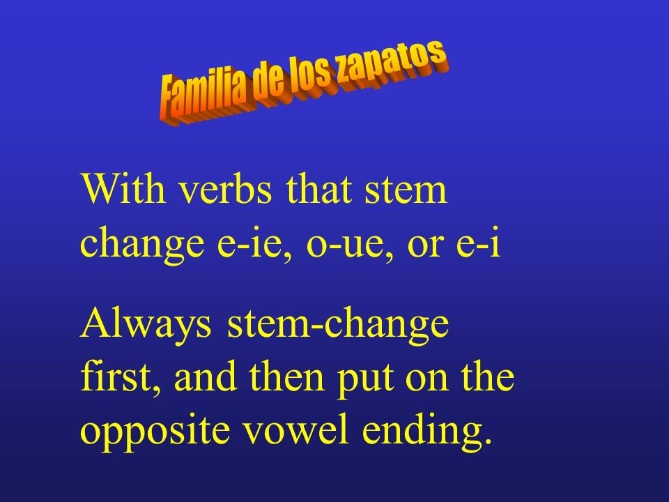 With verbs that stem change e-ie, o-ue, or e-i