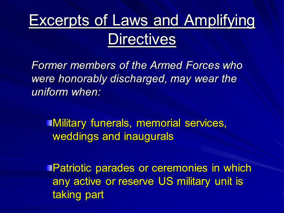 Excerpts of Laws and Amplifying Directives