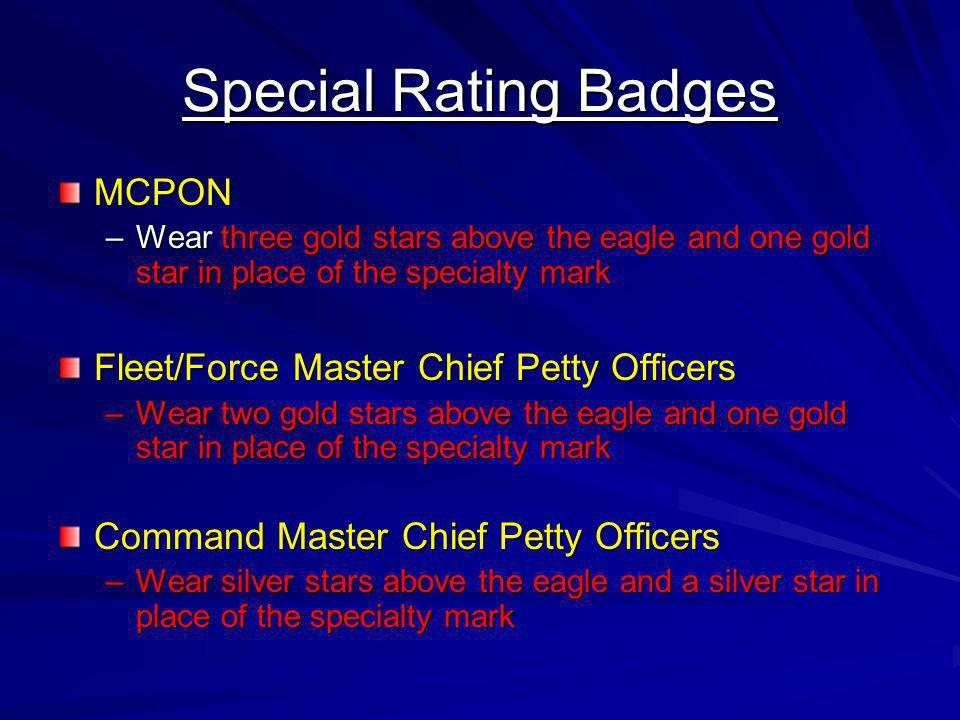 Special Rating Badges MCPON Fleet/Force Master Chief Petty Officers