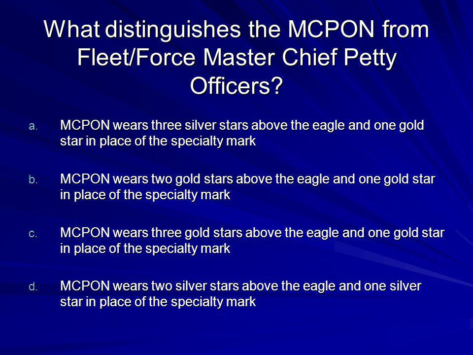 What distinguishes the MCPON from Fleet/Force Master Chief Petty Officers