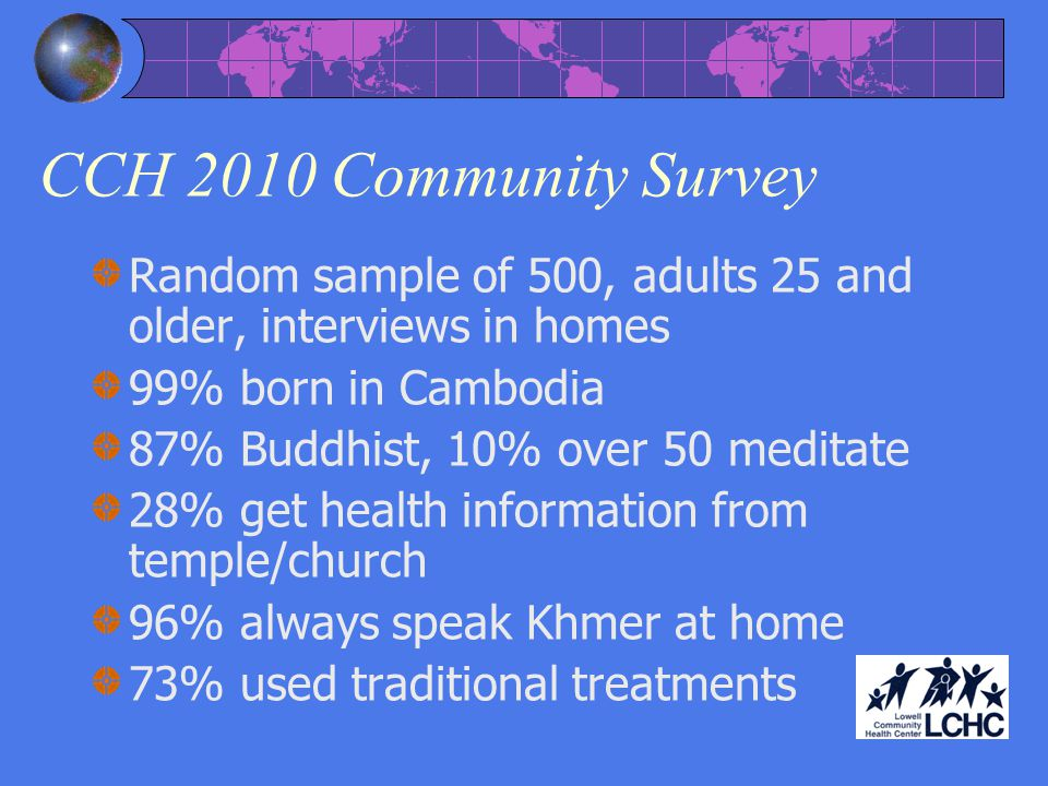 CCH 2010 Community Survey Random sample of 500, adults 25 and older, interviews in homes. 99% born in Cambodia.
