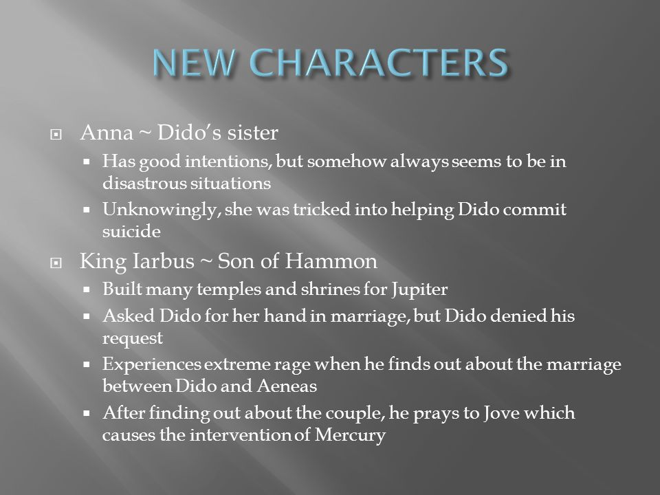 NEW CHARACTERS Anna ~ Dido's sister King Iarbus ~ Son of Hammon