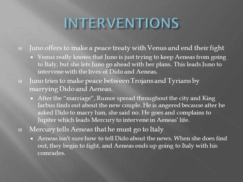 INTERVENTIONS Juno offers to make a peace treaty with Venus and end their fight.